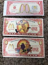 Three 1998 2002 McDonald's Gift Certificate McDOLLAR