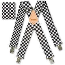 "Brimarc Mens Heavy Duty Suspender 2"" 50mm Wide Black and White Checkered Braces"