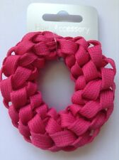 A Pink Plaited Shoelace Donut Hair Scrunchie/Bobble