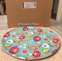 Longaberger Summer Lovin Melamine Large Server Tray Platter Blue Floral New Box