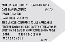HARLEY DAVIDSON SX250  HEADTUBE TAG  / REPRO DECAL