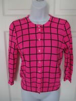 J Crew Clare Cardigan Pink & Black Cross Check Sweater Size S