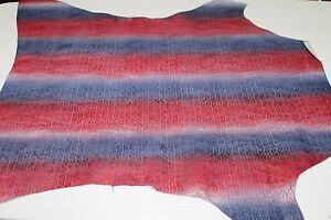 Italian Goatskin leather skin BLUE & RED PRINTED PERFORATED 5+sqf #A1795