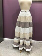FASHION WOMAN FULL LENGT RUFFLED CRINKLED A-LINE BELTED SKIRT ELASTIC WAIST S XS