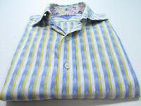 Robert Graham Mens Cotton White Blue Yellow Striped Flip Cuff Casual Shirt Small