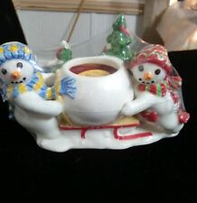 Fitz and Floyd Snowman The Flurries Candle Holder 2 Snowmen Ceramic New