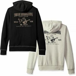 True Religion Men's Flocked Buddha Logo Full Zip Up Hoodie Sweatshirt