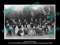 OLD 8x6 HISTORIC PHOTO OF STOCKTON CALIFORNIA THE 6th INFANTRY BAND c1890