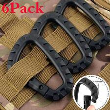 6PCS Outdoor Carabiner D-Shaped Key Chain Clip Tactical Plastic Camping Hook