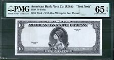 American Bank Note 10 Unit Specimen 1929 PMG 65 Rare