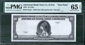 American Bank Note 10 Unit Specimen 1929 PMG 65 Rare