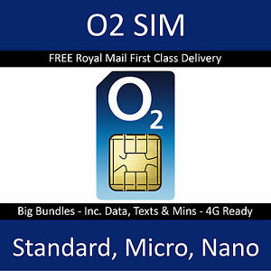 O2 Sim Card Pay As You Go PAYG ONLY 20P 2G/3G/4G Standard Micro Nano 02 Official