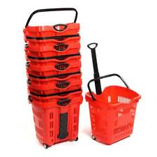 """Set of 10 Red Plastic Rolling Shopping Basket 18 3/4""""W x 15 3/4""""D x 18 1/2""""H"""