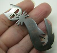 Vintage STERLING SILVER Taxco/Mexico BROOCH PIN PENDANT Whimsical FUNNY FACE CAT