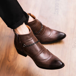 Mens Casual Pointed Toe Chain Ankle Boots Leather Formal Party Dress Shoes Zip