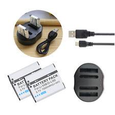 2 BATTERY &USB Charger For PENTAX D-BC92 D-Li92 Optio I-10 Optio WG-1 Optio WG-2
