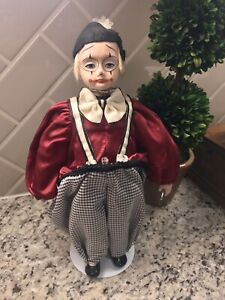 """Vintage Jester Clown 15"""" Porcelain Bisque Handpainted Face Doll"""