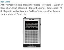 AM/FM Pocket Radio w/ Earphone Bon Venu BV-S01 Dual Band Emergency NEW Sealed