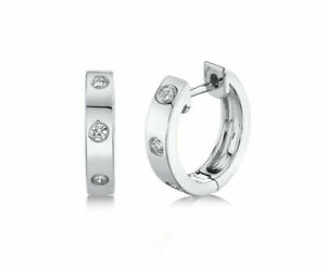 14K White Gold Bezel Diamond Huggie Earrings Hoops Round Cut Natural 0.11 CT