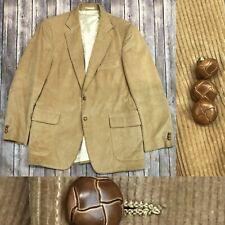 Vintage Men's 42 R Camel Tan Corduroy Two Button Tailored Bespoke Blazer Jacket