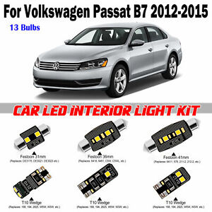 13 Bulbs Deluxe White LED Interior Light Kit For Volkswagen Passat B7 2012-2015
