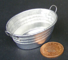 SCALA 1:12th grande ovale vuota in metallo Ciotola Vasca da Bagno Casa Delle Bambole Giardino Fata