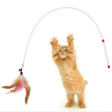 Pet Cat Toy Cute Design Steel Wire Feather Teaser Wand&Bells Plastic Multi-color