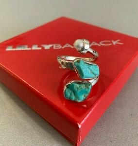 LILLY BARRACK Rare Sterling Silver Natural Sleeping Beauty TURQUOISE Pearl Ring