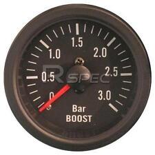 Negro 52mm coche Diesel Boost Gauge 3 Bar Transparente Lente mecánica