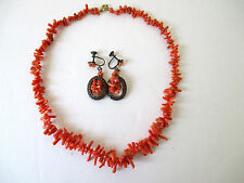 "Vintage Red Coral Necklace 16"" & Matching Screw Back Earrings"