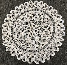 "20"" White Vintage Cotton Handmade Battenburg Lace Crochet Doily Doilies Round"