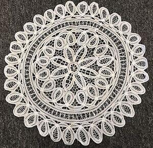 "18"" White Cotton Handmade Battenburg Lace Crochet Doily Doilies Round Wedding"