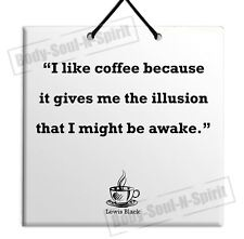 Coffee Lewis Black Ceramic Wall Hanging Plaque TILE Home Decor Gift Sign