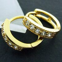 HOOP HUGGIE EARRINGS REAL 18K YELLOW G/F GOLD GENUINE DIAMOND SIMULATED DESIGN