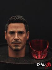 Newest 1/6 Scale Tony Stark Long Neck Head Sculpt Fit MK45 Hot toy Body