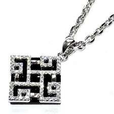 Collier chaîne pendentif plaqué argent résine noir cristal blanc bijou necklace