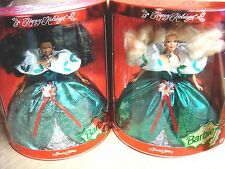 2 Mib 1995 Happy Holiday Barbie Dolls - African American & Blonde in Same Dress