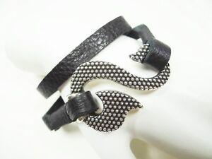 KING BABY Versatile Black Leather Sterling Silver Tribal Hook Bracelet/Necklace