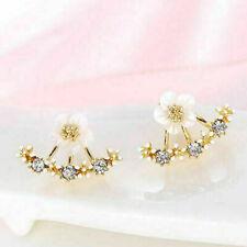gold Women Elegant Crystal Rhinestone Ear Stud  Flower Earrings Fashion Jewelry
