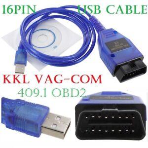 USB Cable KKL VAG-COM 409.1 OBD2 OBD OBDII COM Volkswagen/Audi/Seat/Skoda