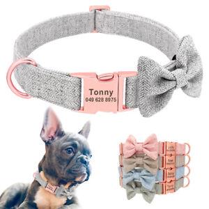 Grey Pink Dog Tweed Bow Tie Collar Pet Personalised Name Metal Buckle Engraved