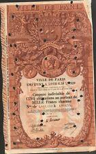 DECO => tire 5 obligations: VILLE DE PARIS 1929 (A)