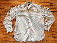 J. Crew Blue Striped Men's Dress Shirt Oxford Size 16-16 1/2 2 Ply bx18