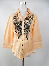 BIBA Shirt Blouse Cotton Orange Floral Print Casual Look Women's Sz UK 12 M BF63