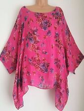 New Italian Lagenlook Pretty Pink floral Loose Kaftan Tunic Top uk 18 20 22 24