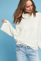 Anthropologie Size XS Tisbury Turtleneck Sweater White Cream Textured Ribbed