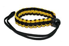 Paracord Camera Wrist Strap Fully Adjustable Braided Yellow / Black