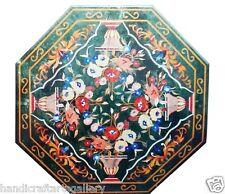 "24""x24"" Marble Coffee Table Top Real Inlaid Mosaic Gemstone Pietradure Decor Art"
