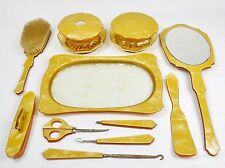 Vintage 11 Pc. Dresser Set, Authentic Bakelite, Butterscotch Color, Circa 1940s