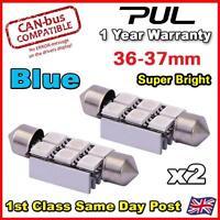 2 x 36MM ERROR FREE CANBUS LED SMD FESTOON NUMBER PLATE / INTERIOR LIGHT - BLUE